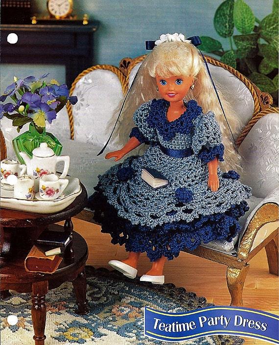 "Teatime Party Dress for 7 1/2"" doll Crochet Pattern Annies Fashion Doll Crochet club"