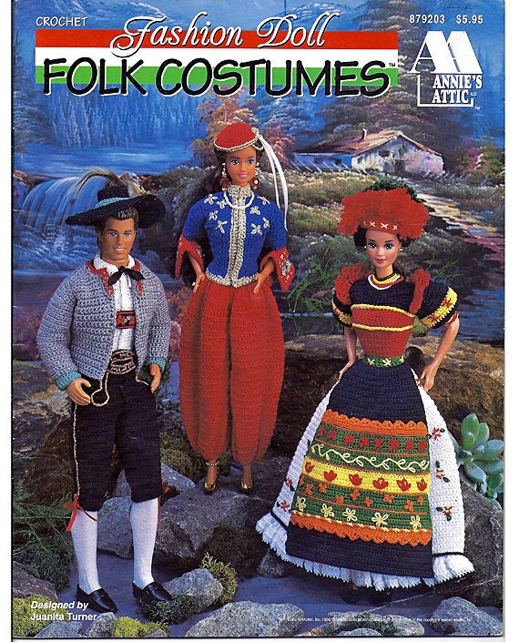 Fashion Doll Folk Costumes Crochet Barbie and Ken Doll Clothes Pattern  Annie's Attic 879203