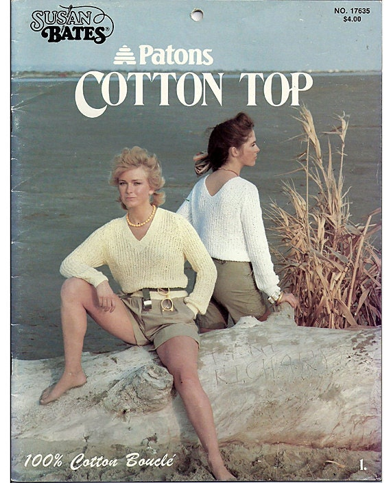 9 Cotton Top  Knitting Patterns and 1 crochet Cardigan pattern  Patons Book No. 17635