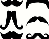 Mustaches custom vinyl decal sticker SET of SIX for mugs glassware laptop