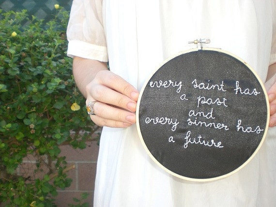 Every saint and every sinner embroidery hoop wall art