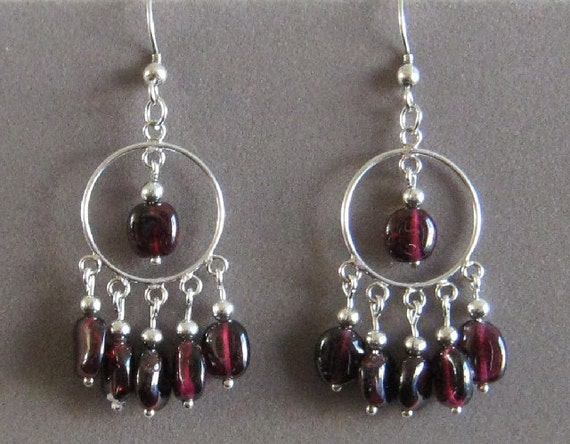Sterling Silver and Genuine Garnet Hoop Earrings