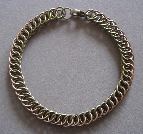 Woodsman - Antiqued Copper and Bronze Unisex Chain Maille Bracelet