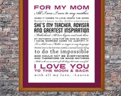 Mother's Day Quotes Custom 8 x 10 Canvas