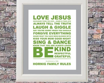 BIGGER Family Rules Custom 11 x 14 Canvas