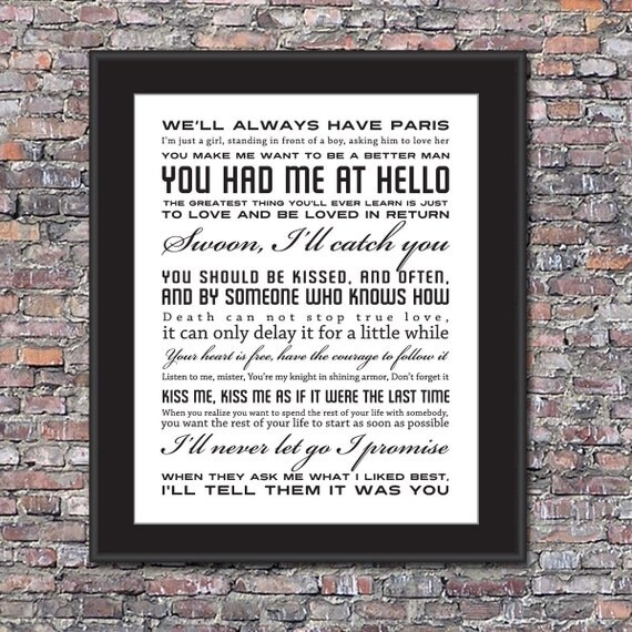 Movie Love Quotes Custom 8 x 10 Canvas