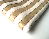 Hand loom gold and white striped Indian cotton silk fabric nr 33
