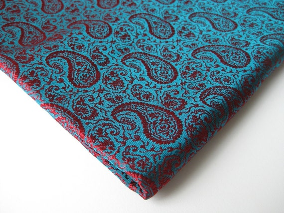 Red blue soft paisley Indian brocade fabric nr  30