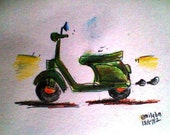 Colour pencil art Motorcycle Painting Original Painting Wall Decor Small Painting Motorcycle Art Original Art Original Drawing Vehicle Art