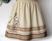 "Upcycled Skirt ""Pihkahäntä"" - LAST ONE - Squirrel and Handkerchief - Reclaimed Table Cloth - Scandinavian Pattern - Autumn Fall Fashion"