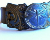 Blue Dragonfly, denim blue, polymer clay, bronze, leather bracelet,