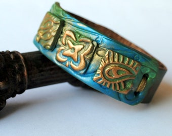 Tribal Blue and Green Bracelet, leather wristband, hand painted, polymer clay collage, turquoise, green, gold and bronze