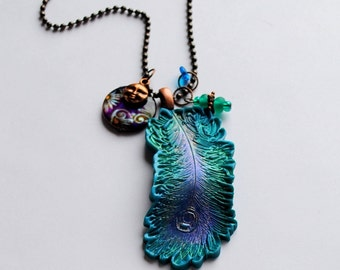 Peacock Feather pendant with Charms, 2 ,peacock feather, glass beads, charms, antique copper