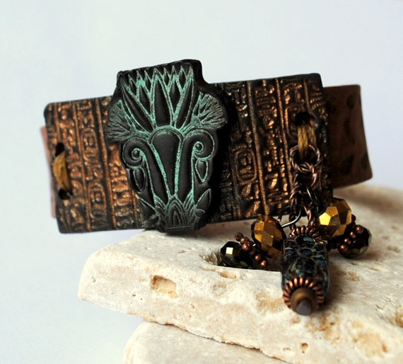 Egyptian Palm bracelet, 2, leather wristband, polymer clay, Egyptian hieroglyphics, palm tree, brown bronze, beaded