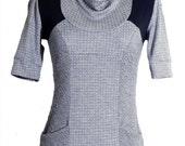 BELLATRIX: Grey Skies Tunic / Long shirt with a Draped Collar