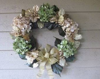 Cream and Pale Green Hydrangea Wreath