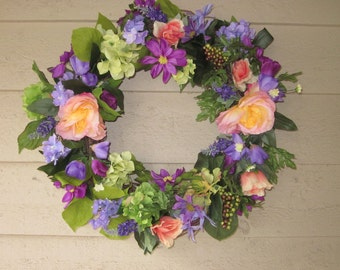 Lavender and Pale Salmon Peony Wreath