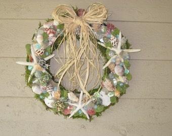 The Ocean's Calling Seashell Wreath in Green Tones