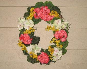Pinky-Salmon Small Oval Hydrangea Door Wreath
