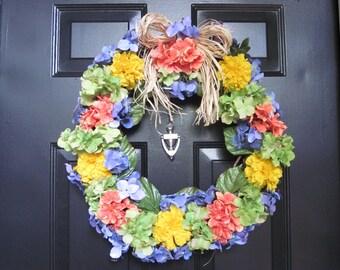 Summer Fun Multi-Color Door Wreath with Raffia Bow