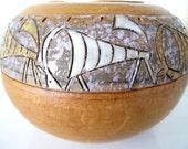Rare Mid Century Italian Leather Wrapped Ceramic Vase SALE