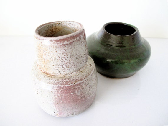 Pair of Vintage Studio Pottery Vases, Signed