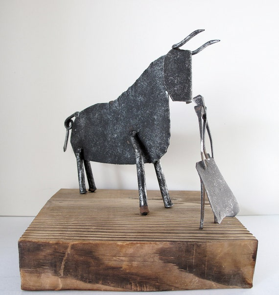 RESERVED for Lea: Mid Century Brutalist Table Sculpture, Bull & Matador, Spain SALE