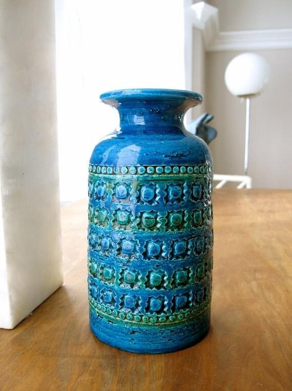 Mid Century Bitossi Rimini Blu Vase SALE