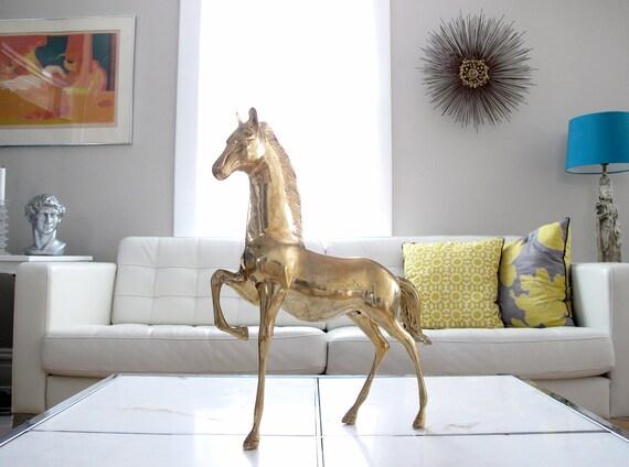 Huge Vintage Brass Horse Sculpture