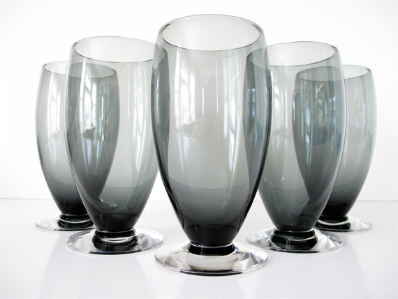 mid century modern smoky drinking glasses