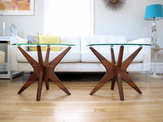 "Adrian Pearsall Sculptural Walnut ""Jacks"" Side Tables, Pair"