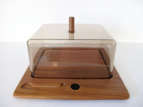 Vintage Digsmed Denmark Teak Domed Cheese Tray Large