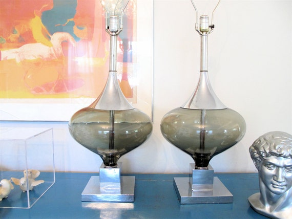 PAIR of 70's Op Art Chrome & Glass Lamps