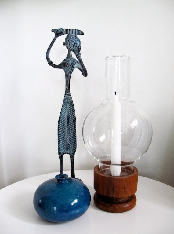Mid Century Kalmar Teak Hurricane Lamp