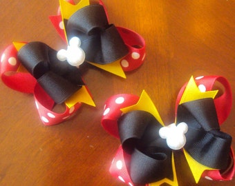 """Mickey Mouse Pigtail Set boutique Hair Bows, choose your clip 4"""" or 5"""" medium size"""