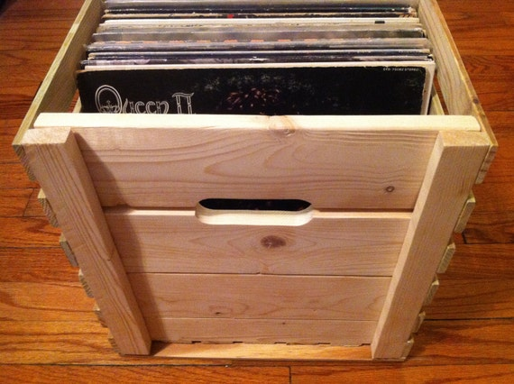 Wooden LP Record Storage Crate
