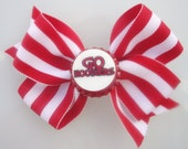 Baby, Girl, Toddler, Teen, Large, Red and White, Indiana Hoosiers Bottle Cap Hair Bow
