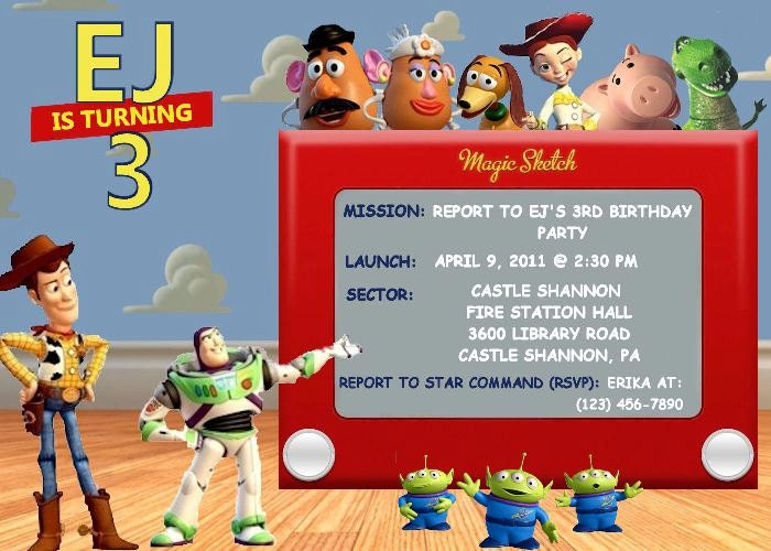 Toy story birthday party invitation for Toy story invites templates free