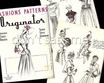 1940s Digital Download ORIGINATOR Fashion Sketchbook Catalog - 38 Pages Vintage Printable PDF