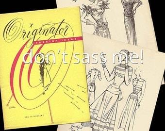 1940s Digital Download ORIGINATOR Fashion Sketchbook Catalog - 34 Pages Vintage Printable PDF