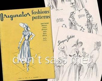 1940s Digital Download ORIGINATOR Fashion Sketchbook Catalog - 31 Pages Vintage Printable PDF