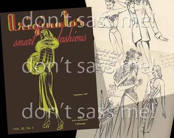 1940s Digital Download ORIGINATOR Fashion Sketchbook Catalog - 33 Pages Vintage Printable PDF