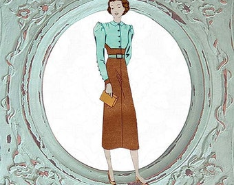1930s 1940s Vintage Pattern Teen Age 14 to 16 Dress French Paris XS