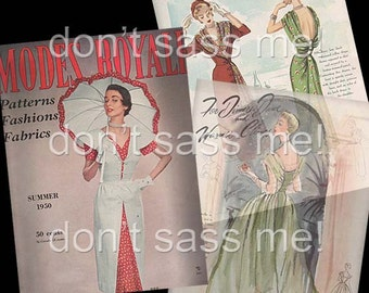 1950s Digital Download Vintage MODES ROYALE Pattern Catalog - 25 Pages Printable PDF