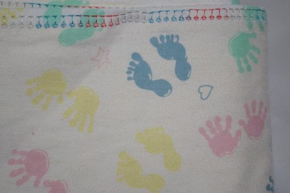 handprint footprint receiving blanket extra large