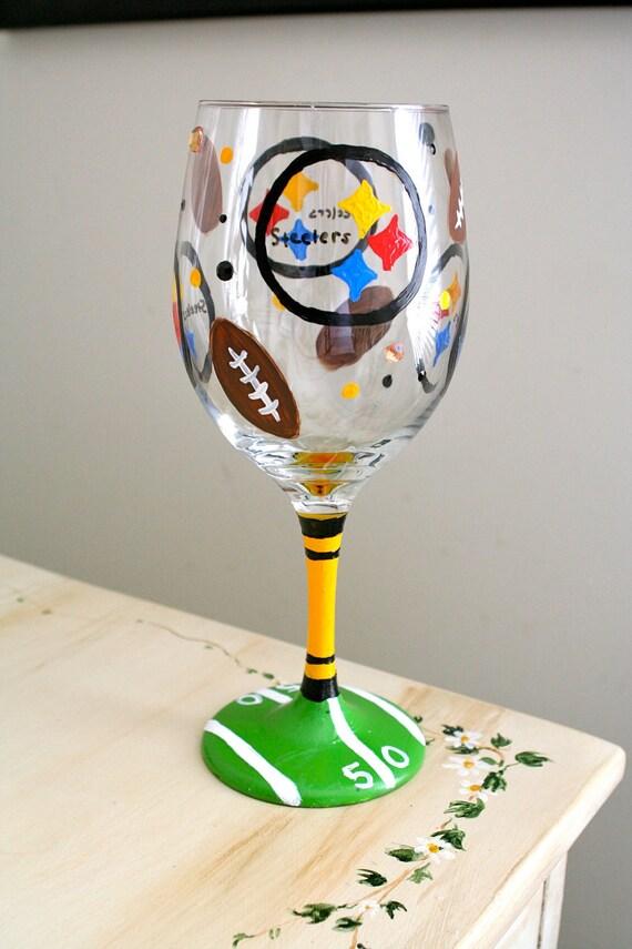 Hand Painted Steelers Wine Glasses
