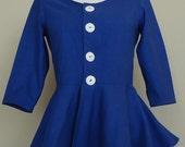 Silk Tweed Cobalt Blue Cropped Jacket, Short Jacket, Crop, Peplum Jacket with Three Quarter Sleeves