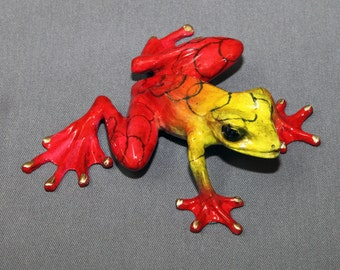 "Frog Bronze Amphibian ""Chica"" Figurine Statue Color Live Frogs / Limited Edition Signed & Numbered"