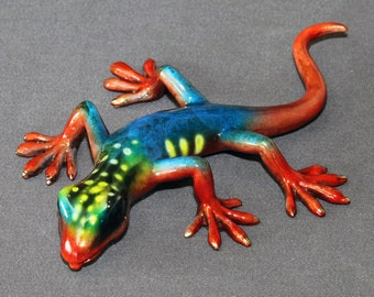 GORGEOUS BRONZE LIZARD Gecko Figurine Statue Sculpture Art / Limited Edition Signed & Numbered