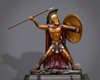 "Bronze Spartan Warrior  King Leonidas ""Prepare For Glory"" Sculpture by Barry Stein from the movie ""300"""